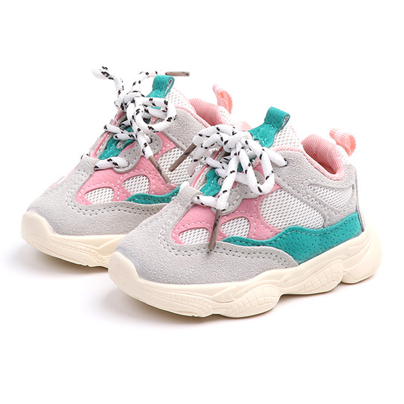 Baby Toddler Shoes 2020 New Spring Autumn Soft Bottom Patchwork Kids Sneakers Lace Up Boys Girls Sport Shoes Chaussure Enfant