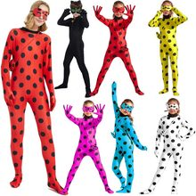 Costume Cosplay pour filles, ensemble de vêtements pour enfants et adultes, Costume de fête d'halloween, Costume de Marinette, chat Noir, petit coccinelle