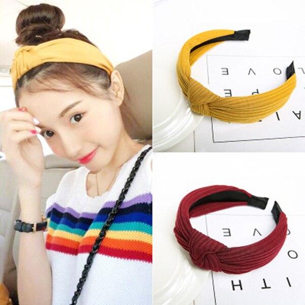 1 Pc Fashion Hair Band Hairband Knot Cross Tie Solid Knitted Rib Girls Bow Hoop Hair Accessories Velvet Twist Headband