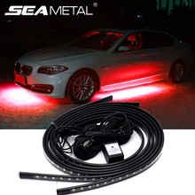 12V Car Flexible Strip Lights LED RGB Auto Underglow Decoration Lamp Under Light LED Atmosphere Lamps Underbody System Car Lamp