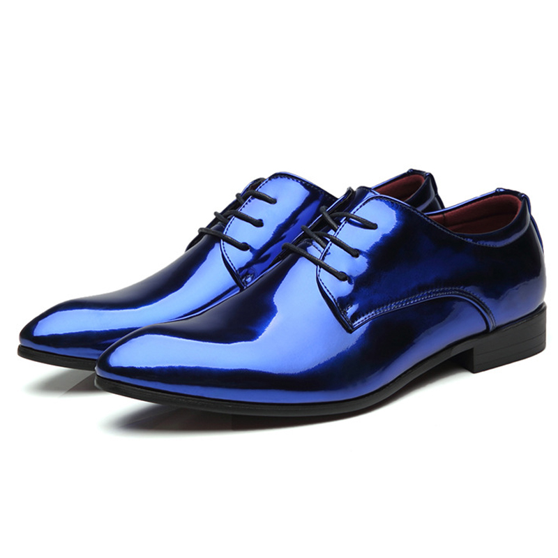 Bright Leather Shoes Men Classic Shoes Fashion Blue Gold Casual Mens Footwear Flats Party Performance Buty Meskie