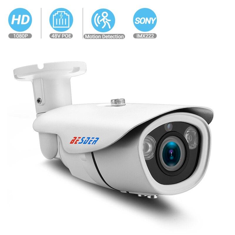 BESDER PoE Zoom IP Camera CCTV Security  Waterproof Outdoor Manual Zoom Varifocal Lens 2.8-12mm 720P/960P/1080P 2Big Array LEDs