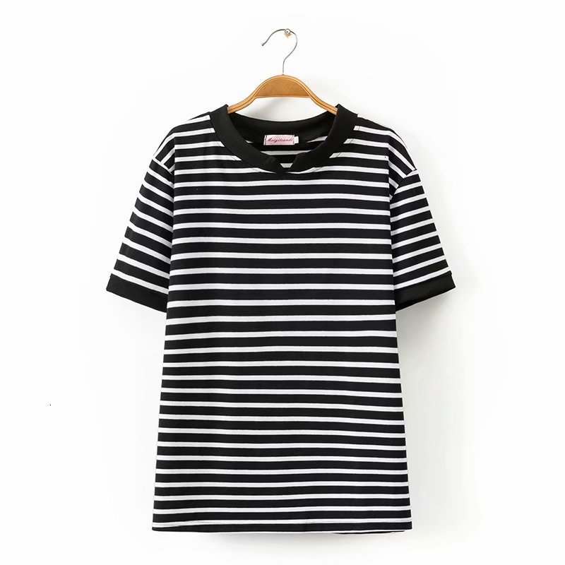 Plus size Cato white & black striped t shirt women t shirt short sleeves summer women tops t shirt V neck tea shirt femme