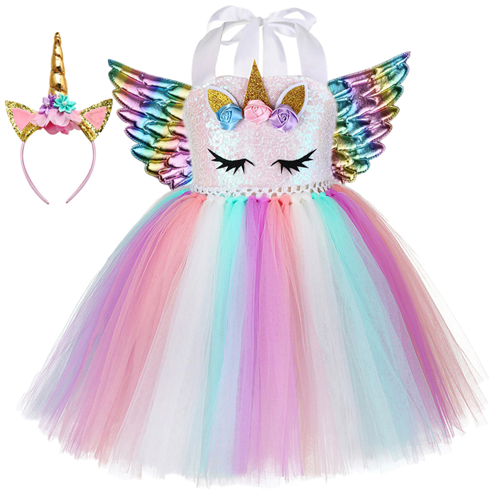 Baby Girls Princess Mesh Dress Unicorn Beauty Party Holiday skirt Fit 2-8 year