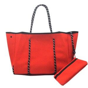 Image 5 - Женская сумка тоут из неопрена, большой светильник для покупок, 2020