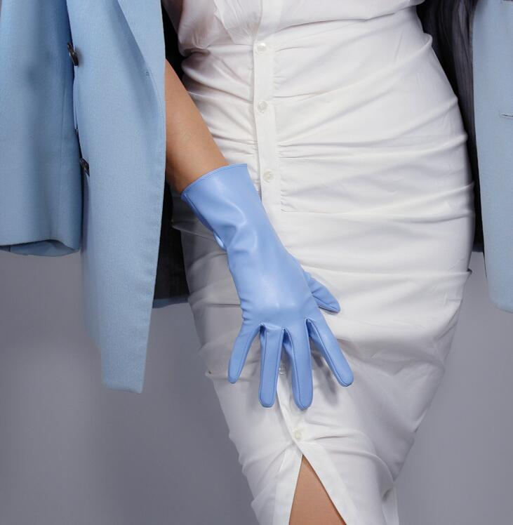 Women's Fashion Light Blue Sexy Slim Faux Pu Leather Glove Lady's Club Performance Formal Party Leather Short Glove 28cm R2225