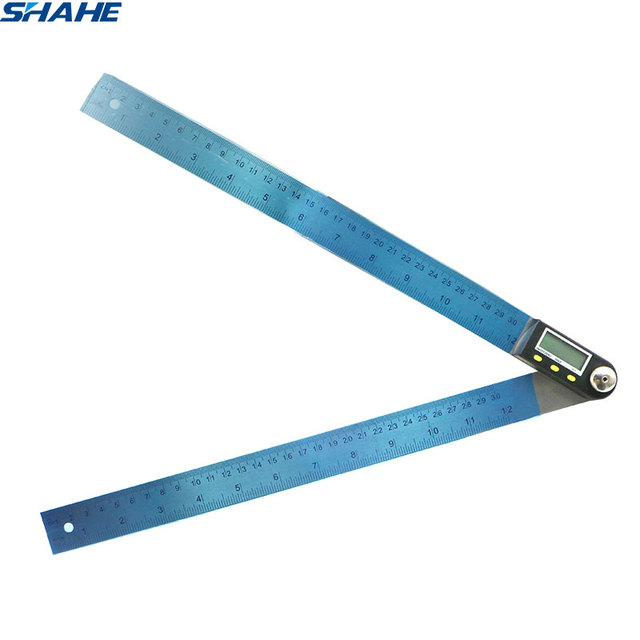 shahe Electronic Goniometer Digital Protractor Angle Finder Stainless Steel Ruler 300 mm Angle Gauge Measuring Tool