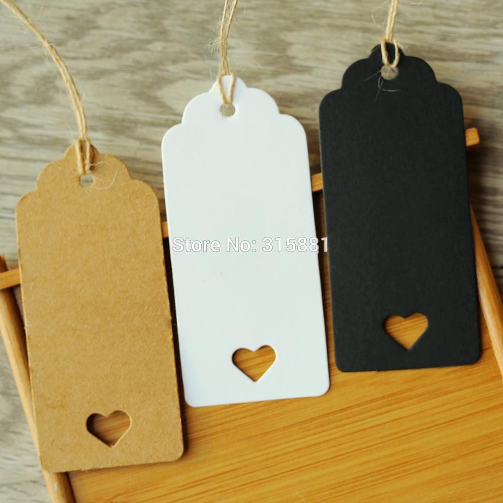 Белые, коричневые и черные пустые сердечки, крафт-бумага, бирки, головка гребешка, этикетка для багажа, свадебная бирка, 9*4 см, 100 шт.