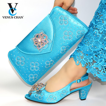 Bule Color Fashion Wedding Lady Shoes And Bag Set Latest Elegant Style Women Pumps Shoes And Bag To Match Set For Party