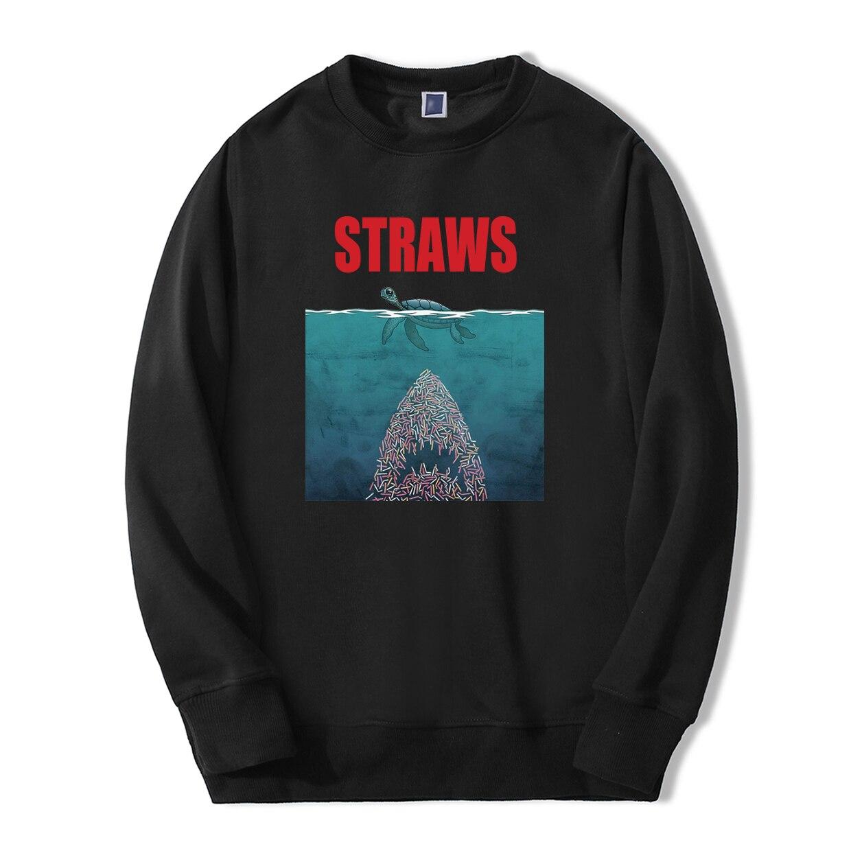 Straws Shark Environmental Protection Sweatshirt Hoodies 2019 Autumn Winter Men High Quality Casual Mens