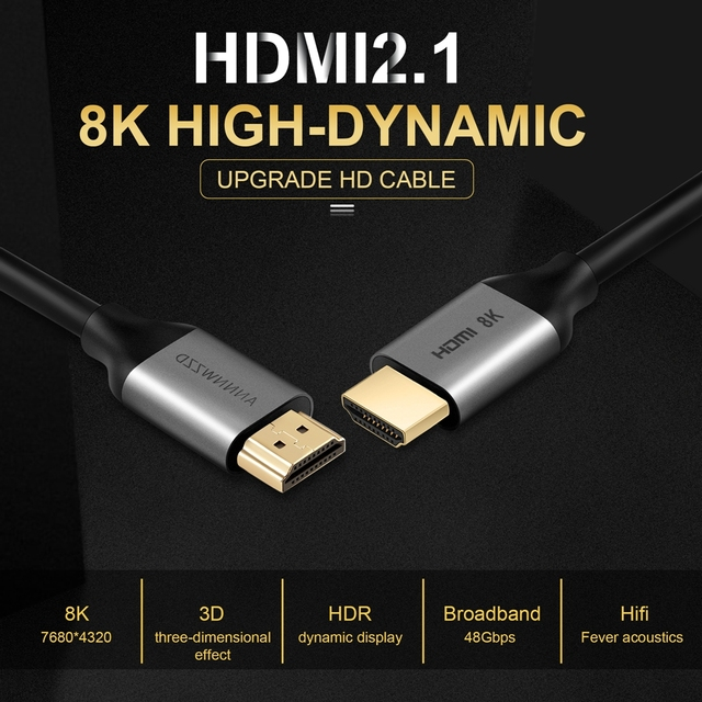 HDMI 2.1 Cable 8K 60Hz 4K 120Hz UHD HDR High Speed 48Gbps HDMI Cable for PS4 Splitter Switch TV Digital Cables 8K HDMI 2.1 Cable