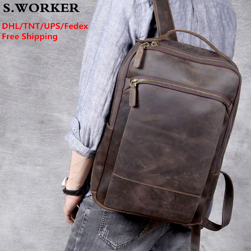 "DHL Free Shipping Vintage Crazy Horse Leather Backpack Large 14"" Laptop Rucksack Genuine Leather School Bag Travel Backapack"