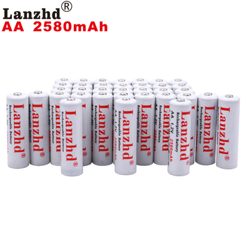 40pcs AA rechargeable batteries AA 1.2V  lithium battery Pro AA 2580mAh 1.2 V NI-MH For flashlight toy preheated battery 2A 1.2V