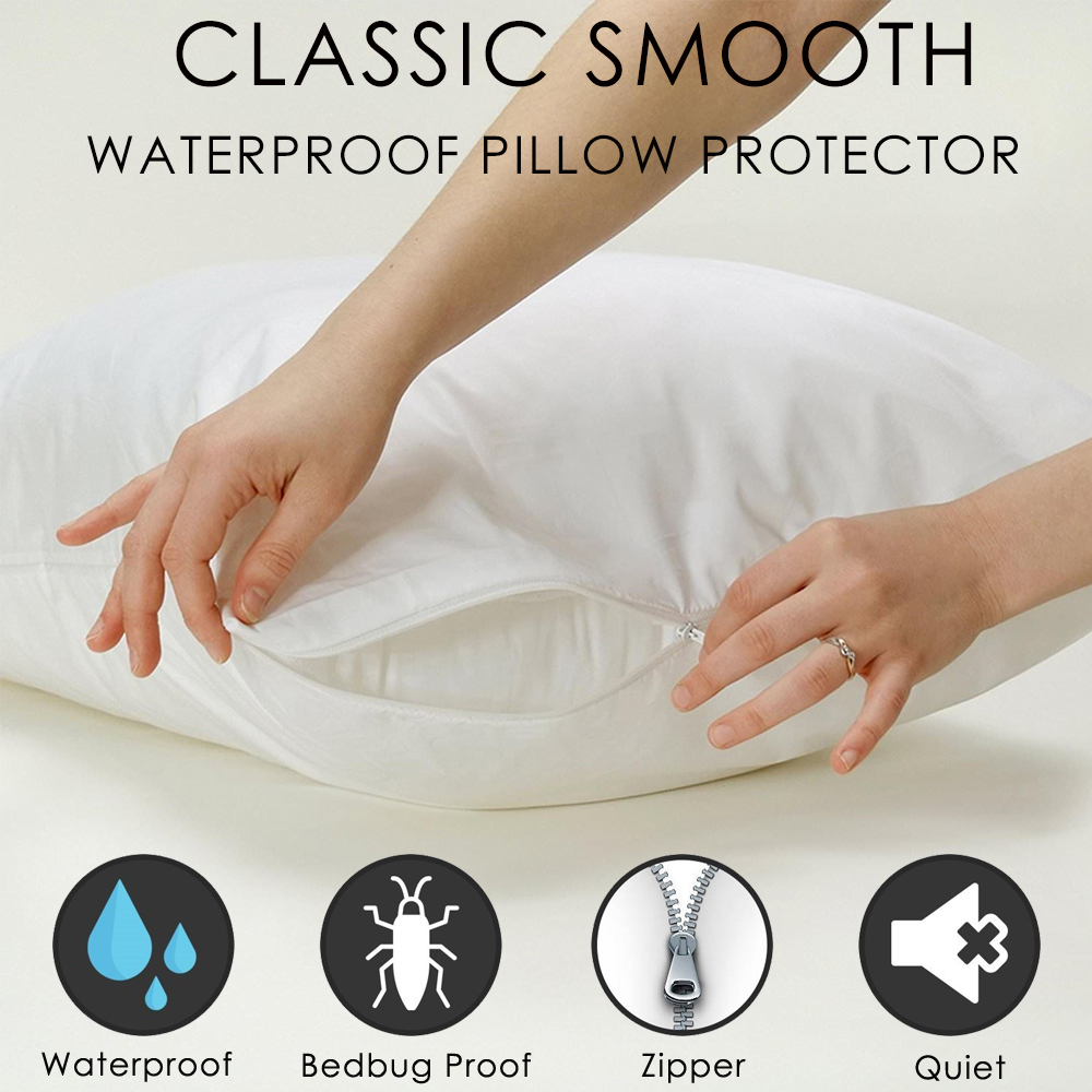 Waterproof Zippered Pillow Encasement Bed Bug Proof Pack of 2 White, Queen