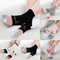 Чулки Для женщин цветные детские носки в стиле пэчворк; Носки с «Five Finger», «милые носочки для Для женщин хлопчатобумажные забавные носки Голь...
