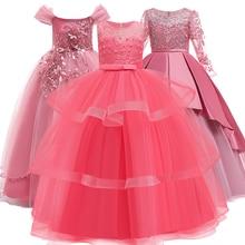 Платье принцессы с цветочным узором для девочек на свадьбу, платье для причастия, платье для дня рождения, вечерние платья для девочек с кружевными лепестками, длинное платье для банкета, вечеринки