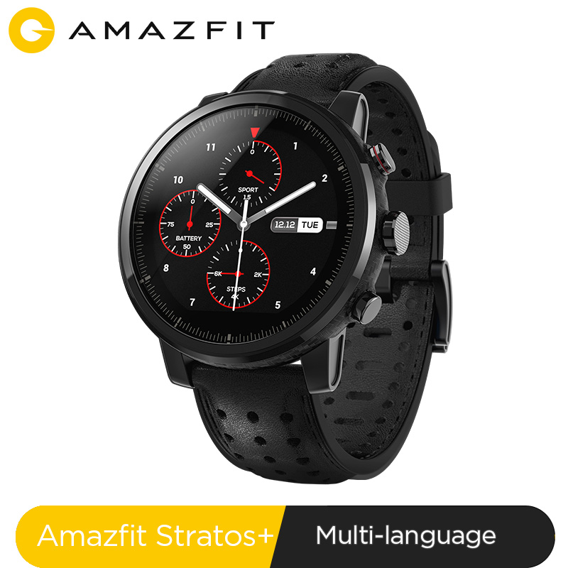 2019 nova amazfit stratos + flagship relógio inteligente genuie pulseira de couro caixa presente safira 2 s