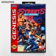 16 บิตพร้อมกล่องสำหรับ Sega MEGA Drive สำหรับ Genesis Megadrive Rage 2