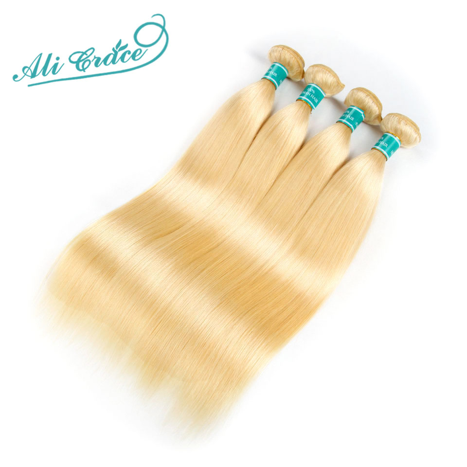 Hf6ce224b63a14adf9a0a4b37d4d670cfb Ali Grace Hair Blonde 613 Bundles With Frontal Brazilian Straight Bundles with Closure 13*4 Remy Blonde Bundles With Frontal