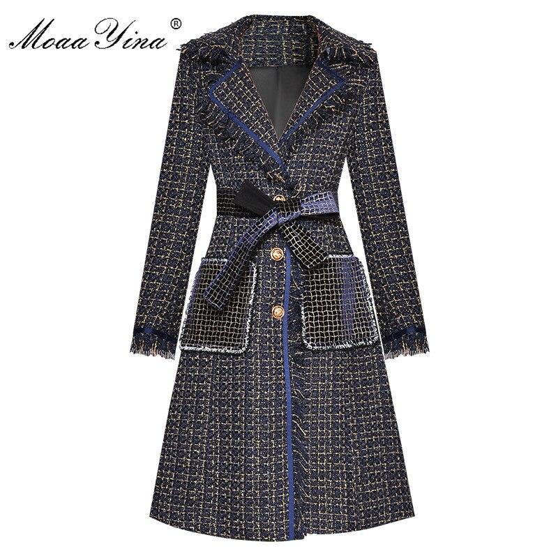 MoaaYina Fashion Designer Woolen Cloth Windbreaker Overcoat Autumn Women Single-breasted Tassel Long Sleeve Plaid Overcoat