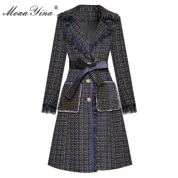 MoaaYina Fashion Designer Woolen cloth Windbreaker Overcoat Autumn Women Single-breasted Tassel Long sleeve Plaid Overcoat