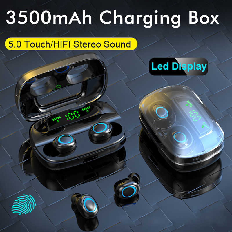 Écouteur sans fil tactile TWS 5.0 Bluetooth casque HiFi stéréo écouteurs antibruit casque étanche écouteurs alimentation LED