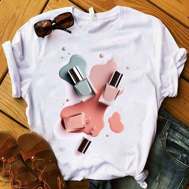 Women T Womens Graphic Finger Nail 3D Short Sleeve Summer Paint Color Casual Top Tshirt Female Tee Shirt Ladies Clothes T-shirt