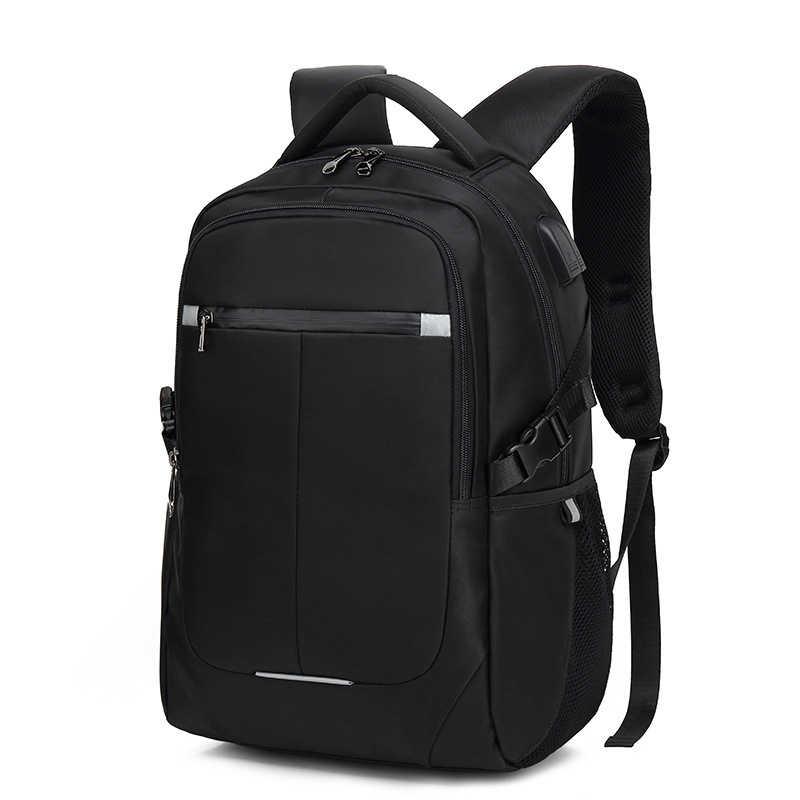 높은 품질 남자 배낭 15.6 인치 여행 레저 비즈니스 노트북 USB 충전기 물 Repellent 남자 학교 가방