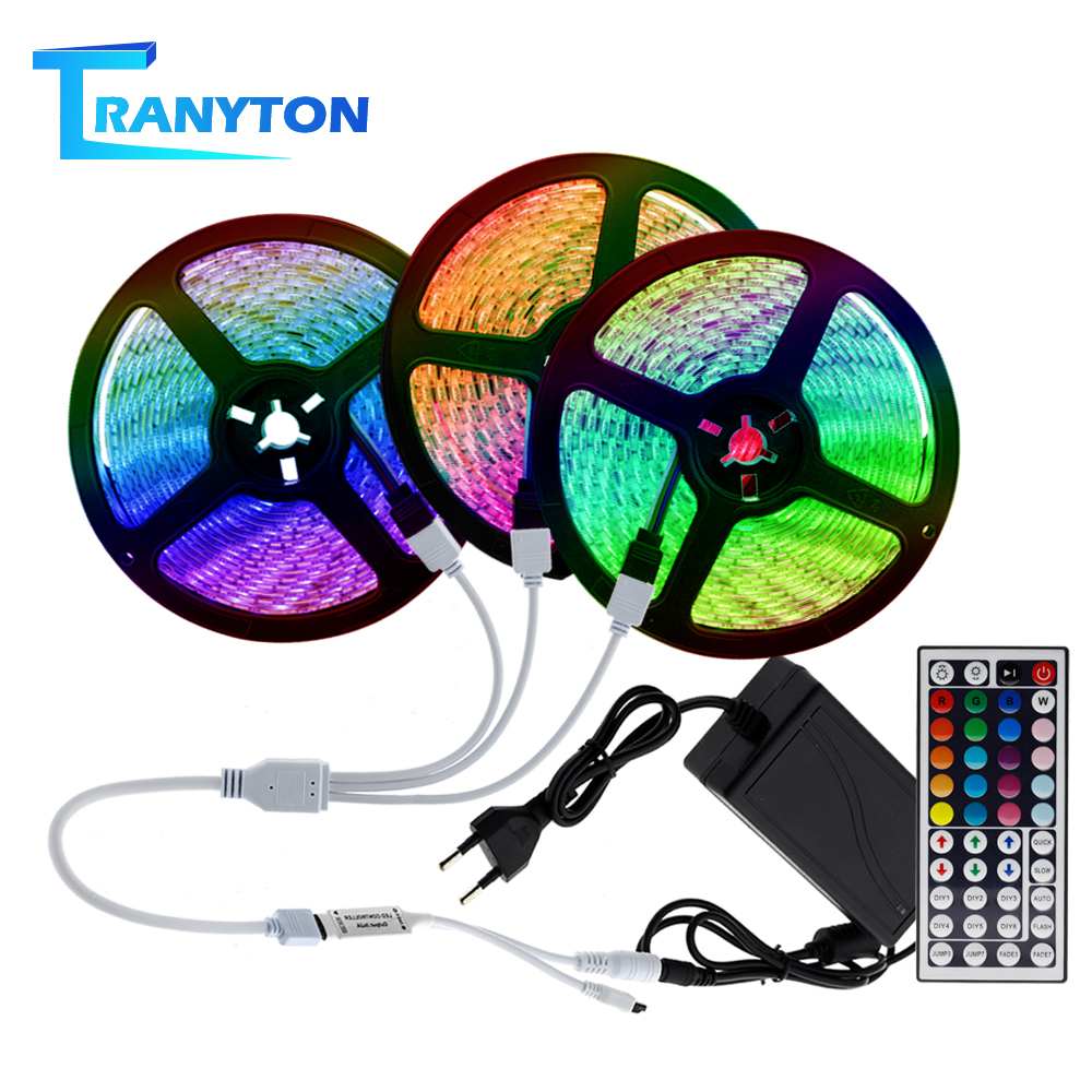 LED Strip Light RGB 5050 SMD 2835 Flexible Led Light Strip 5M 10M 15M Waterproof Tape DC12V Strip+Power Adapter+Remote
