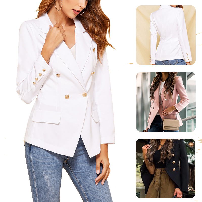 Double Breasted   Basic     Jacket   Coat 2020 Autumn Winter Women   Jackets   Office Ladies Formal Outwear Elegant White Pink Black Tops