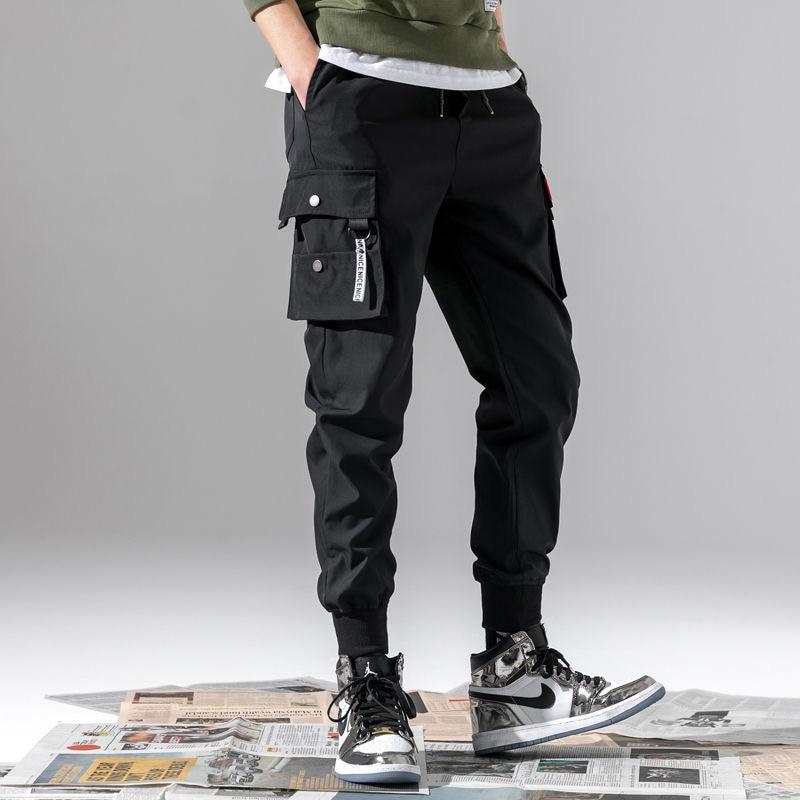Men Harem Cargo Pants 2020 Mens Hiphop Black Pockets Joggers Pants Male Korean Fashion Sweatpants Winter Overalls