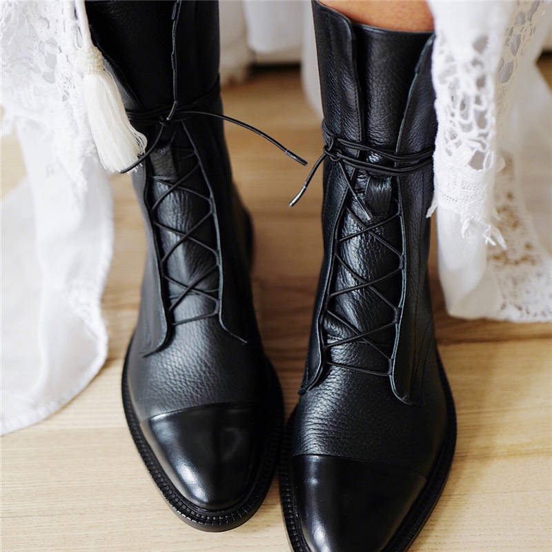 Women Vintage Mid Calf Boots Women's Fashion Lace Up Ladies Comfort Woman PU Leather Boots Platform Casual Female Shoes Autumn on AliExpress