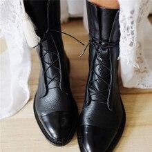 Botas Vintage a media pantorrilla para mujer, a la moda, con cordones, para mujer, botas de cuero PU con plataforma, zapatos casuales para mujer, otoño