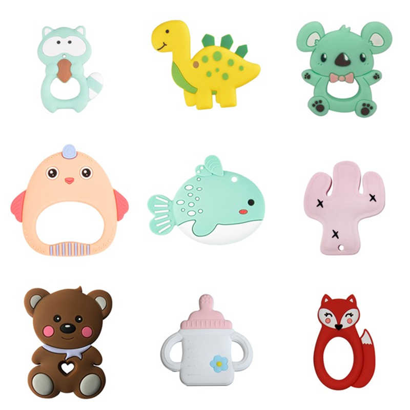 1Pc Baby Teether Animal Koala Dinosaur Chichen Food Grade Silicone Baby Teething Necklace Toys DIY Childen's Gifts