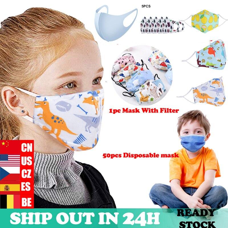 5Pcs Children Mouth Mask Respiratory Valve Cartoon Panda Thicken Smog Mask Warm Dust Mask Fits 2-10 Years Old Kids