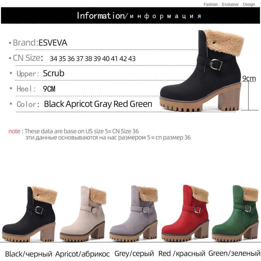 ESVEVA 2020 kare yüksek topuk fırçalama yuvarlak ayak sonbahar kış kadın ayakkabı sıcak kürk toka platformu moda yarım çizmeler boyutu 34 -43