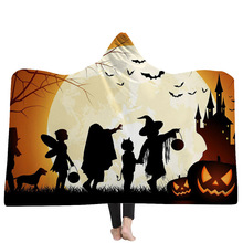 Halloween Series Hooded Blanket Pumpkin Lantern Printed Plush For Adults Kids Soft Home Fleece Wearable Throw