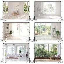 Laeacco לבן שיק בית צרפתית חלון נוף צמח חדר דקור צילום תפאורות תמונה רקע תמונה סטודיו אבזרי