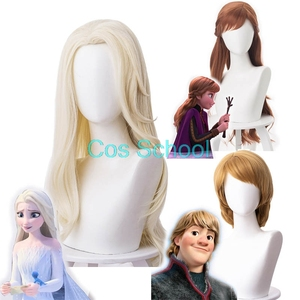 Cos School Frozen 2 Cosplay Wigs Elsa Anna Kristoff Men and Women Wigs Snow Queen Princess Hair Halloween Wig Accessories(China)