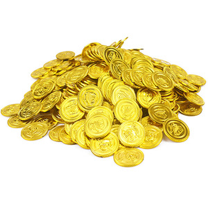 100Pcs Children Toys Plastic Pirate Gold Coin Treasure Coins Game Currency Kids Party Decoration Halloween Christmas Gifts