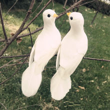 1PCS 12*5*5CM Decorative Doves Artificial Foam Feather Mini White Birds With Magnet Craft Birds Home Decor Wedding Decorations(China)