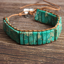 LanLi natural Jewelry light green Rectangular The emperor stone knit  bracelet men and women Giving presents self use