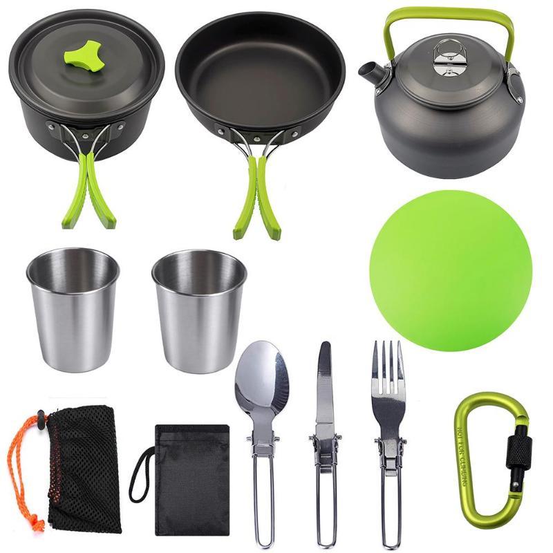 utensilios de cozinha ao ar livre piquenique cozinhar frigideira chaleira colher faca de mesa garfo bloqueio