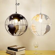 Lámparas colgantes globo Vintage lámpara colgante LED jaula de hierro pantalla para iluminación interior para restaurante y cafetería Retro suspensión luminaria