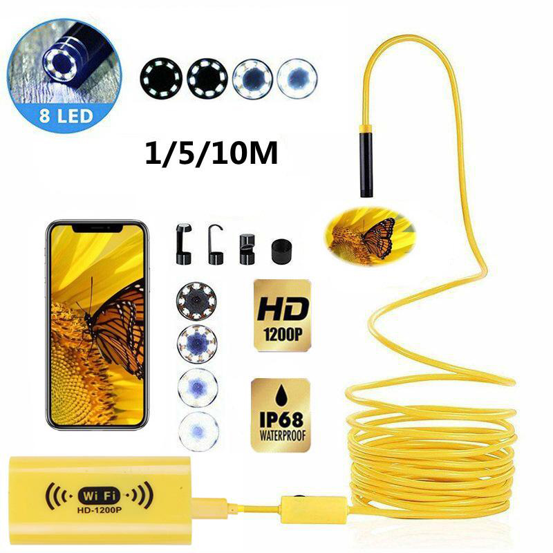 8mm Wifi HD 1200P Endoscope Camera USB IP68 Waterproof Borescope Semi Rigid Tube Wireless Video Inspection For Android/iOS