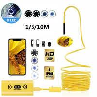 8mm Wifi HD 1200P Endoscope Camera USB IP68 Waterproof Borescope Semi Rigid Tube Wireless Video Inspection for Android/iOS