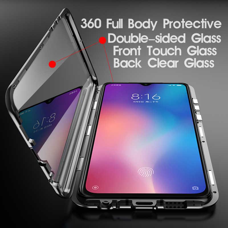 Caixa de metal magnética dupla face para redmi nota 9s 8 8a 8t 7 pro k20 xiaomi 10 9t 9se 9lite cc9 cc9e a3 note10lite capa de vidro