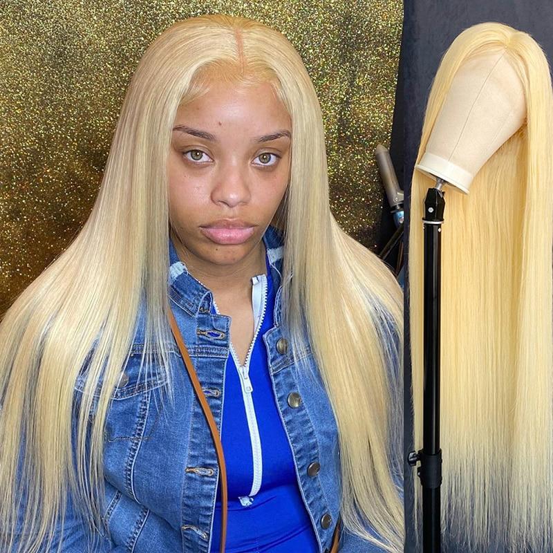 Прямые 613 блонд Омбре цвет 13x4 прозрачные HD кружевные передние человеческие волосы без клея отбеленные узлы 4x4 закрытые предварительно выщип...
