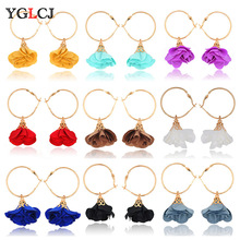 YGLCJ 2019 Elegant Lady Bohemian Flower Earrings Sweetheart Petals Alloy Big Charming Female Accessories Gifts