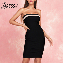 INDRESSME 2019 New Sexy Bandeau Bandage Dress Midi Dress Cut Out Bodycon Black Dress Party Outfit stylish cami black cut out women s bodycon dress